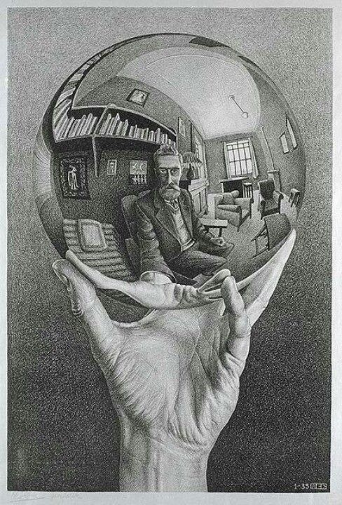 "M. C. Escher - ""Hand with a Reflecting Sphere""; self-portrait"