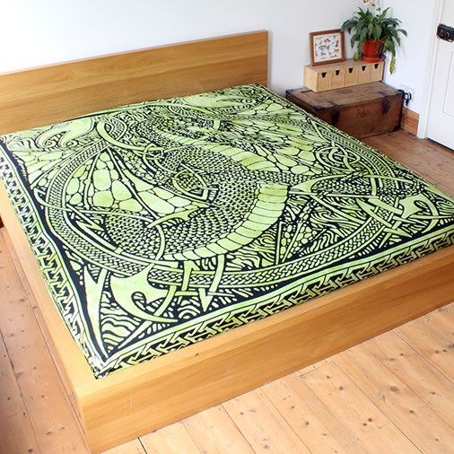 Green Fire Dragon Throw For Beds Sofas And Chairs