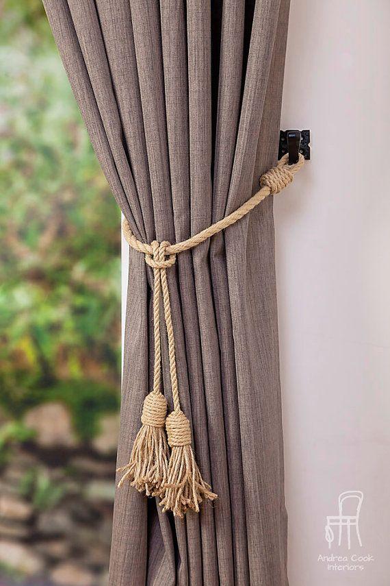 Jute And Hemp Rope Tassel Nautical Curtain Tie Backs Curtain Tie