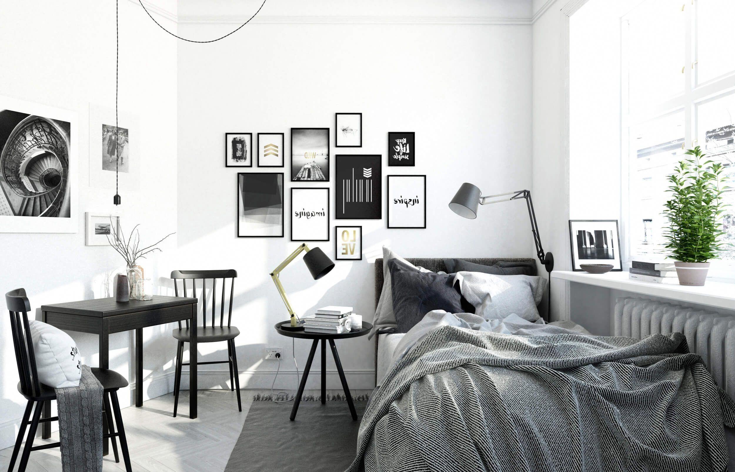 Small Black And White Scandinavian Bedroom 3d Interior Render By Nonagon Studio Smallbedr Scandinavian Style Bedroom Scandi Bedroom Small Apartment Bedrooms