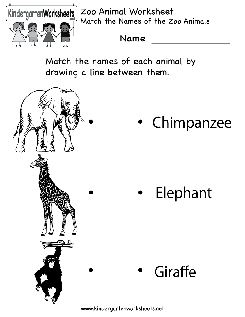 Kindergarten Zoo Animal Worksheet Printable English