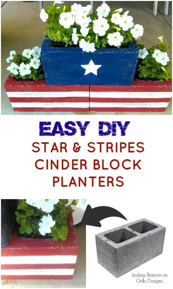 37 stenciled cinder block planter ideas and free 2017 from zola decor - Diy Stars Stripes Cinder Block Planters
