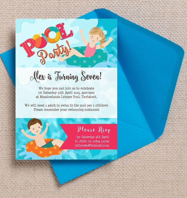 Swimming Pool Kids Personalised Birthday Party Invitations. DIY ...
