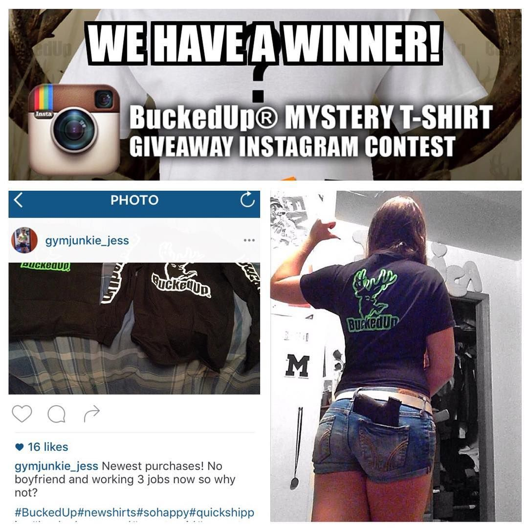 Congratulations! @gymjunkie_jess is the winner of this BuckedUp Mystery T-shirt Giveaway Instagram Contest. Thank you to everyone who participated in the contest. Don't get discouraged if you did not win this time around there is always next time.  Speaking of next time what kind of Instagram Contest would you like to see us host?  Feel free to leave a comment below or send us a direct message we look forward to your feedback.  Happy Hunting!