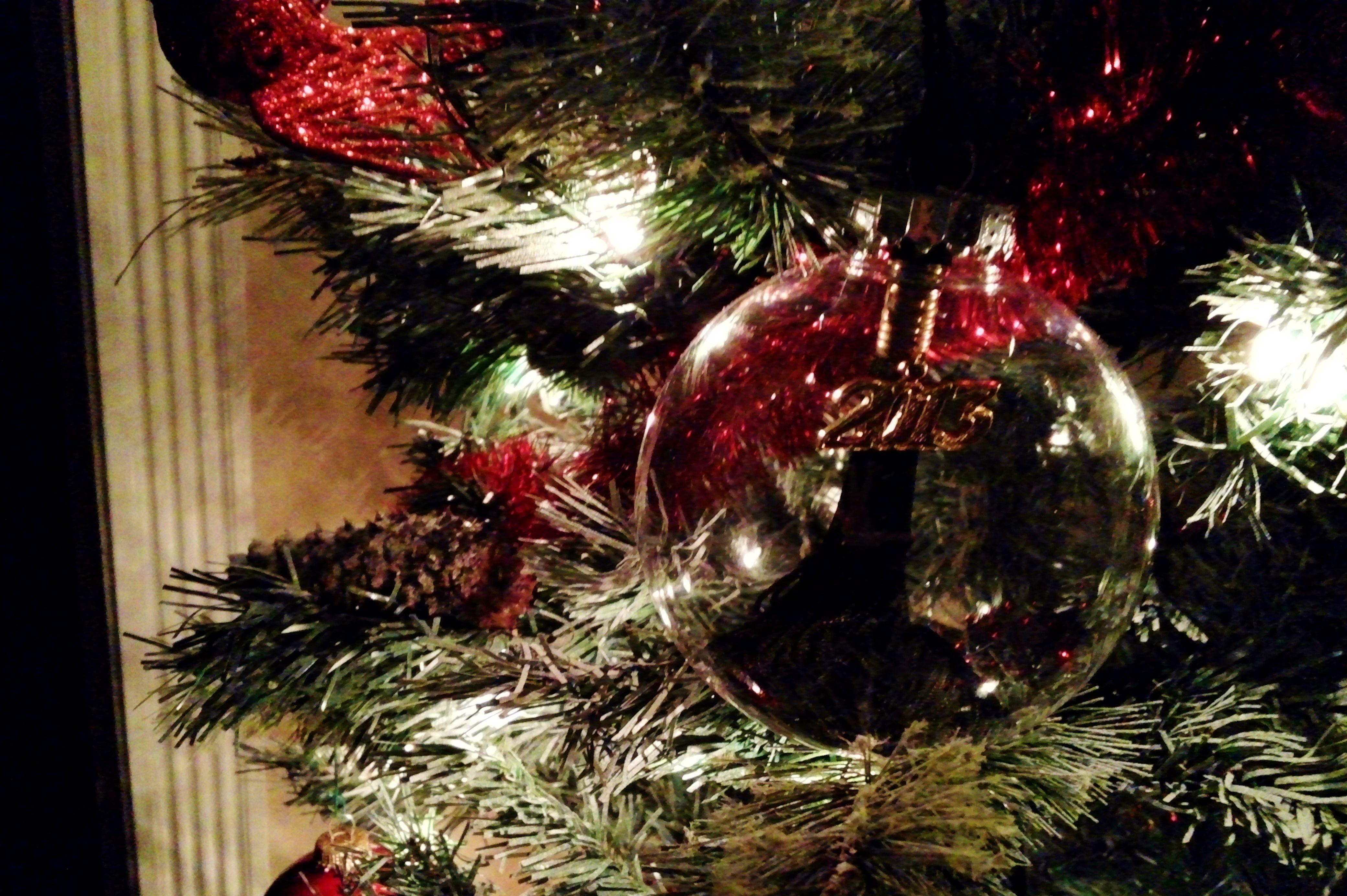 My College Graduation Tassel inside a clear Christmas Ornament