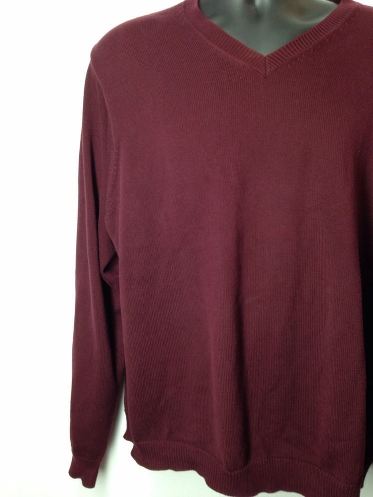 Eddie Bauer Mens Cotton Sweater Maroon XL VNeck Long Sleeve ...