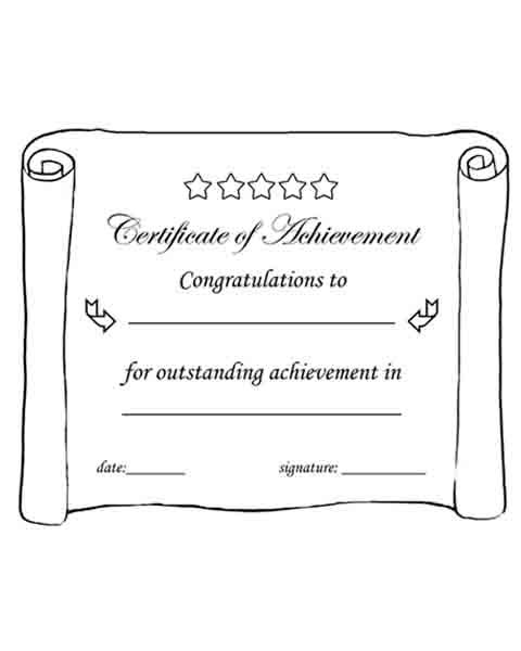 Certificate of Achievement Printable Black \ white worksheets - free templates for certificates of completion