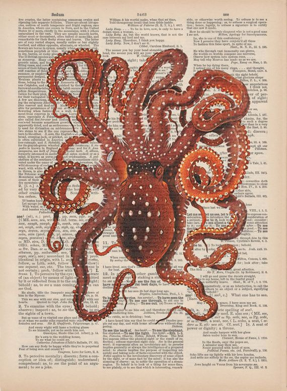 Octopus Vintage Dictionary Page Art Print From Scientific Illustration    Digital Collage   Wall Art