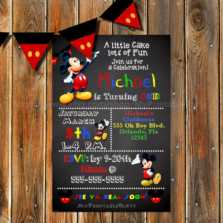First Birthday Party Invitation Boy Chalkboard: Mickey Mouse Invitation-Mickey Mouse Birthday Invitation