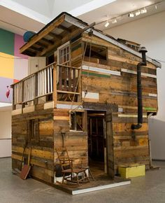 Ethan Hayes Chute S Quirky Wooden Shacks Are A Delightful Hodgepodge Of Found Materials Wooden Shack Pallet Tree Houses Backyard Sheds