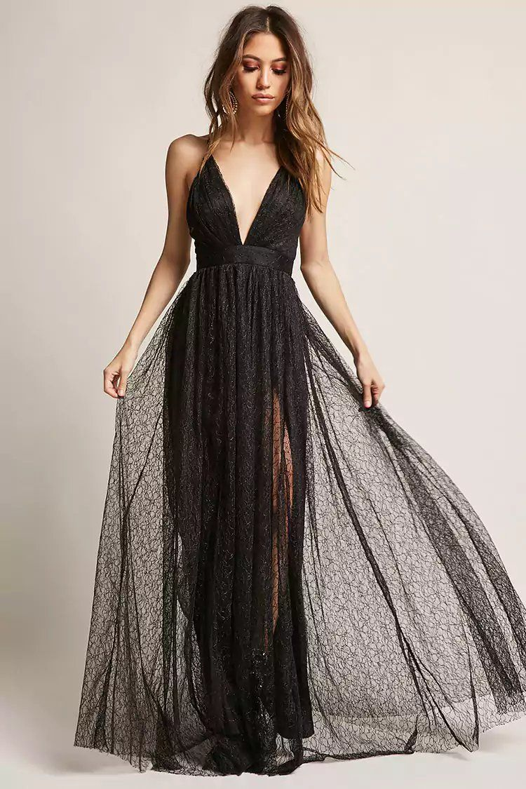 160494443a9 Product Name Plunging Mesh Maxi Dress