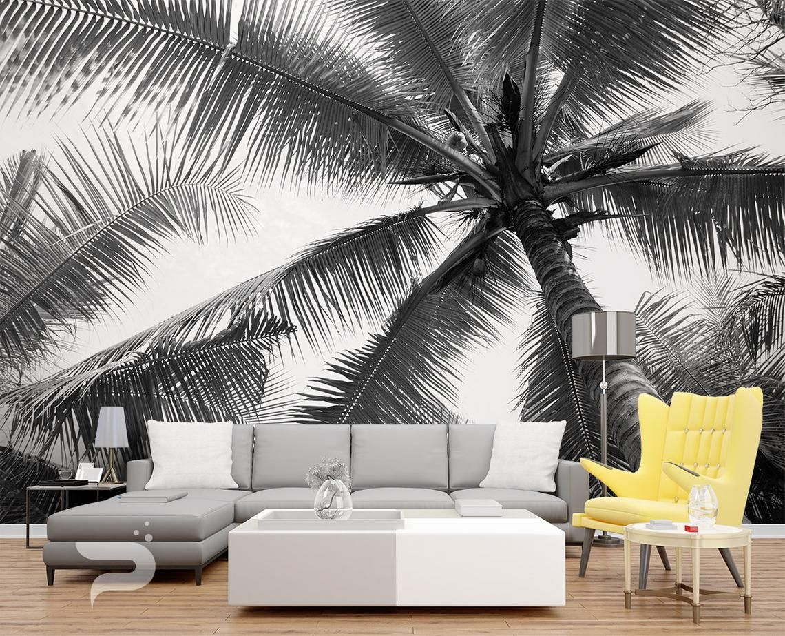 Black and White WALL MURAL, Palm Tree Wallpaper, Large