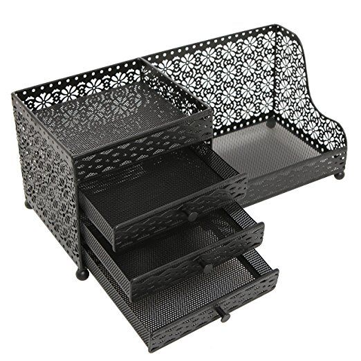 Amazoncom Black Metal Jewelry Cosmetics Storage Drawer Box
