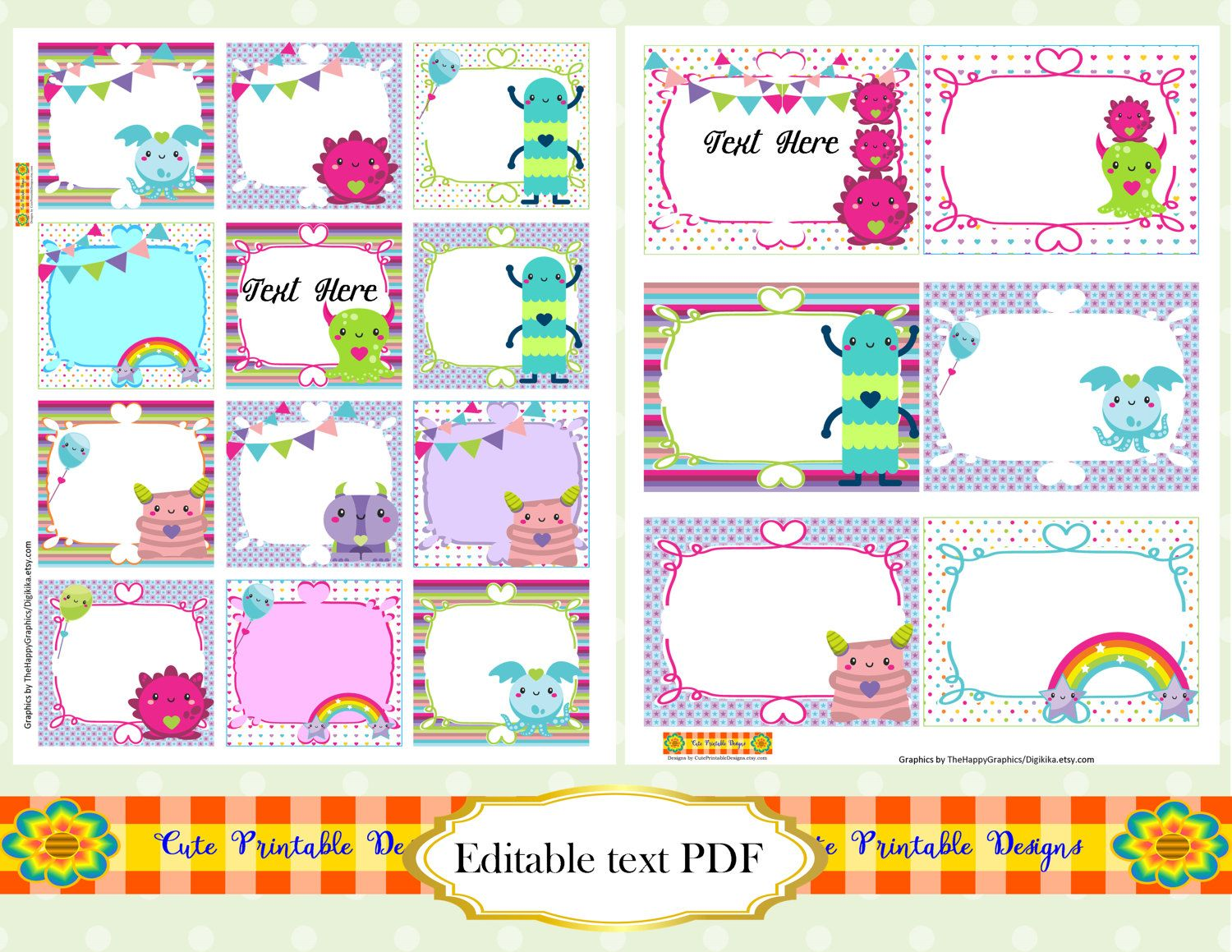 Printable Note Cards Lunch Box Notes Editable Square Labels School Labels Printable