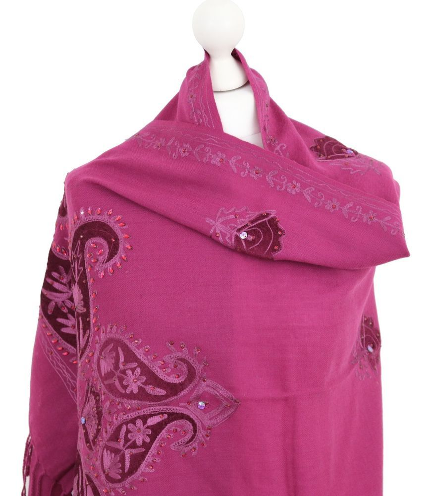 54ab3ed9d Ladies Indian Embroidered Shawl Stole Scarf Velvet Patch Shawls Kashmir  Wool New #thesnugowl #ShawlWrapHijabScarf