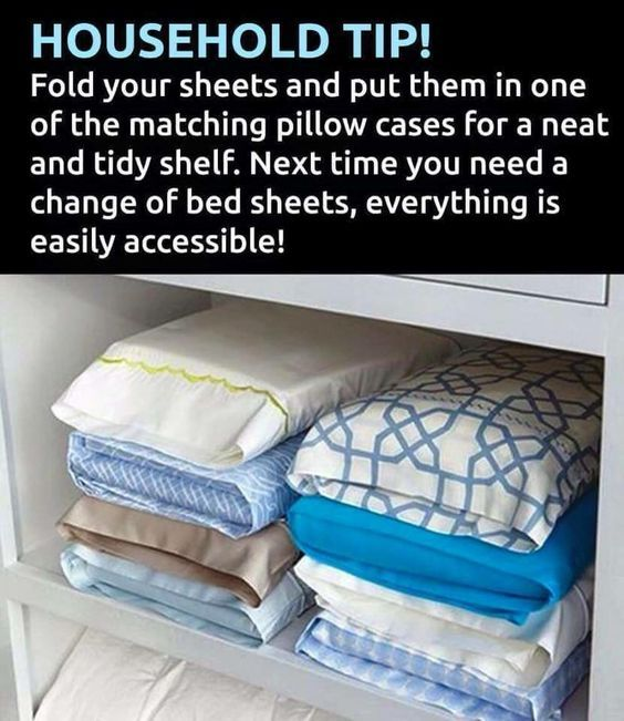 Fold up a set of sheets, put them inside matching pillowcase. Keeps all your bed linens super organized and easy to find!! Love this!!!: