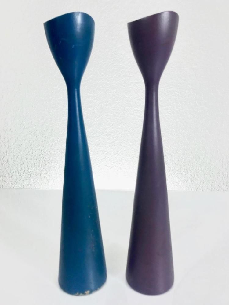 Danish Modern Teak Tulip Candle Holders Denmark Candleholders