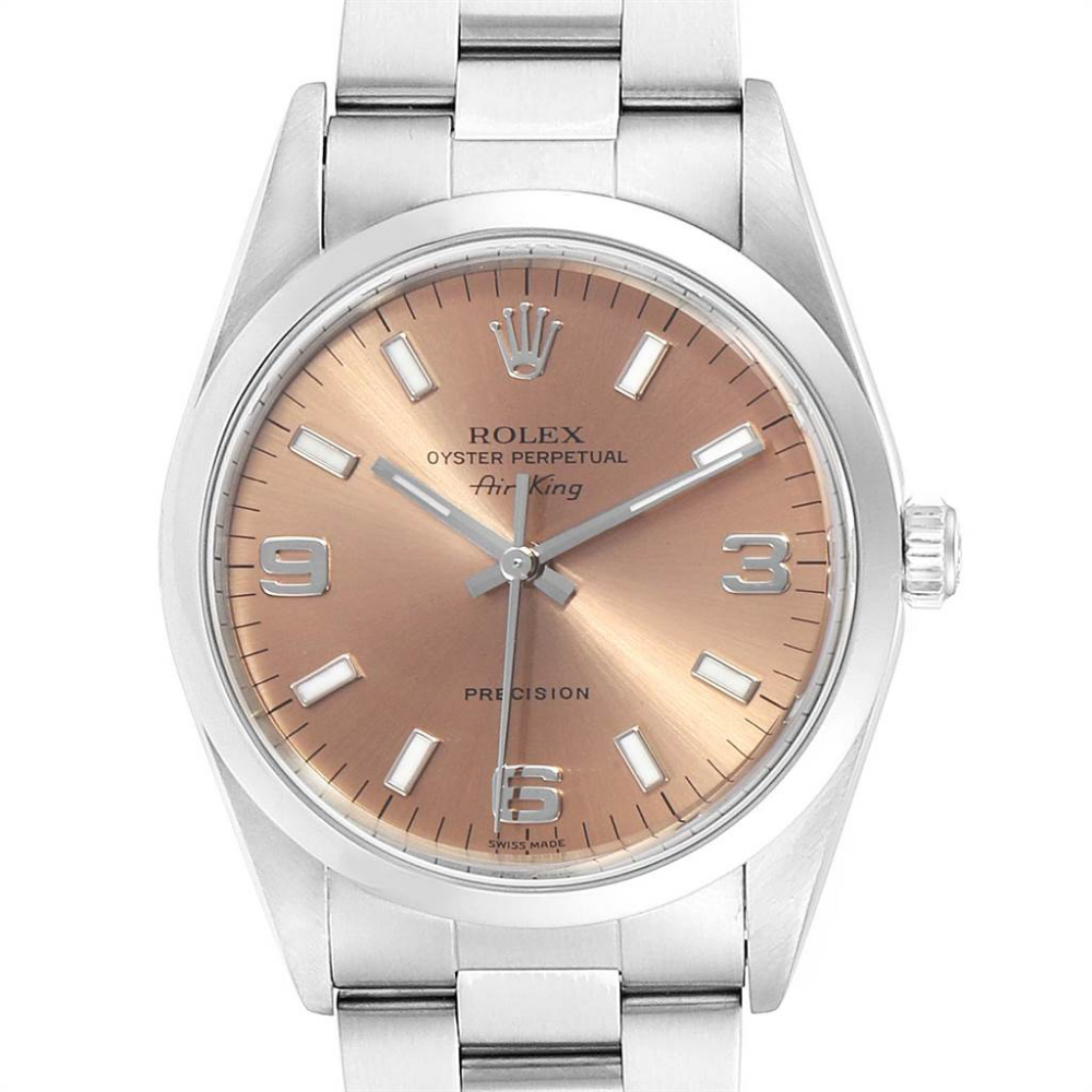 Rolex Air King 34 Salmon Dial Domed Bezel Steel Unisex