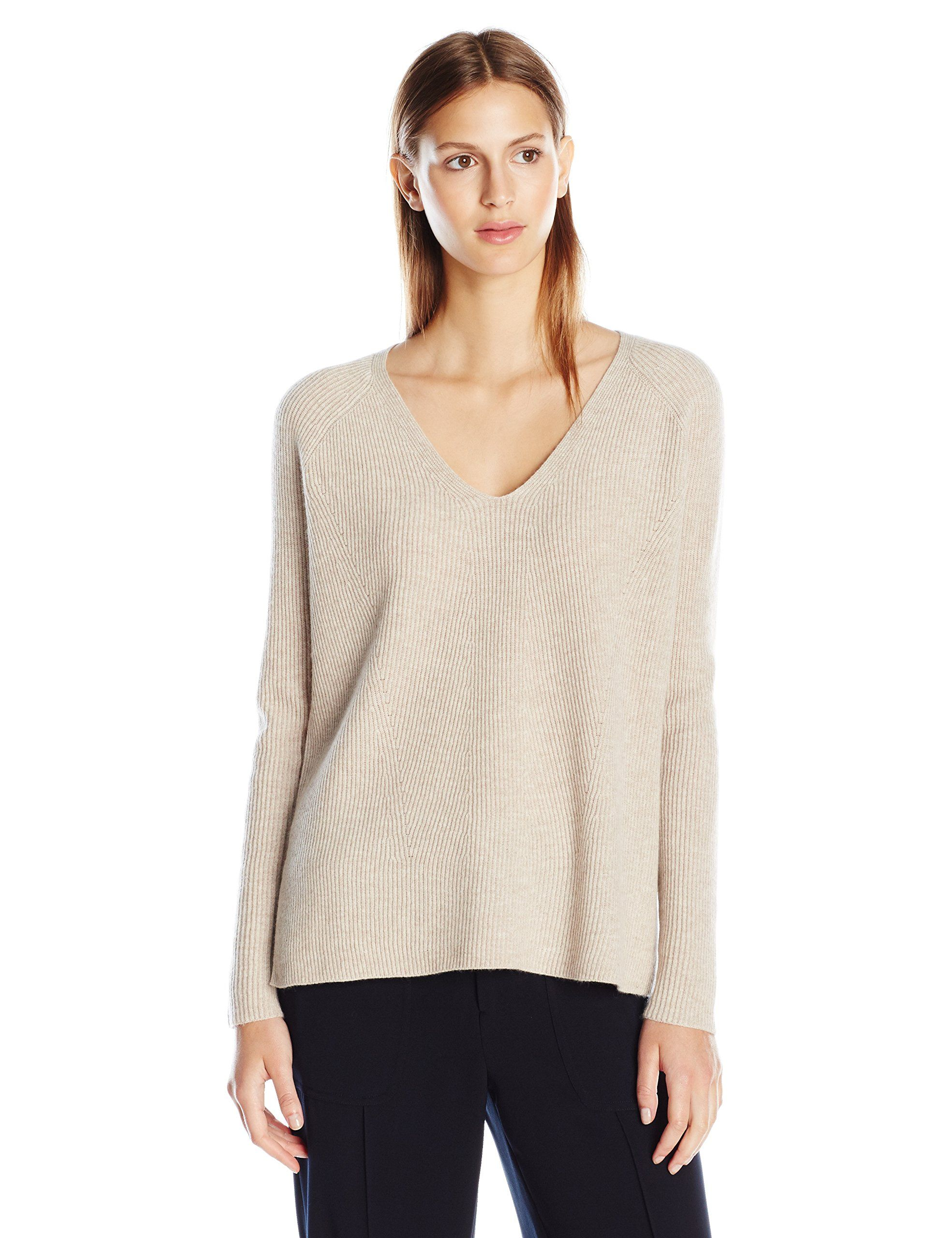 Vince Women's Vee Pullover, Light Heather Marzipan, Large