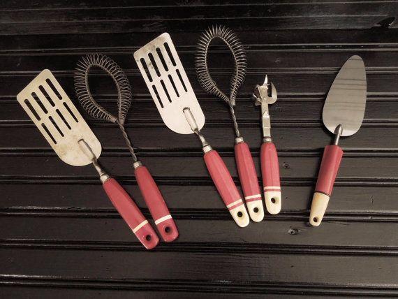 Vintage Kitchen Utensils Red Handle A Amp J Ekco Various