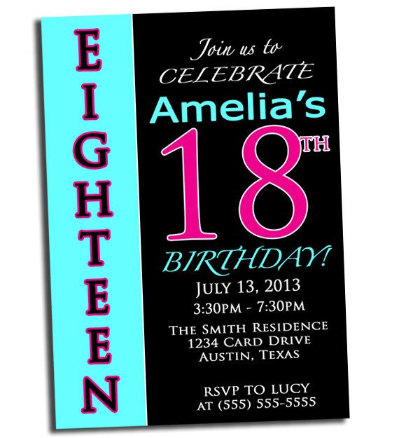 18th birthday pink black and cyan party printable invitation, Birthday invitations