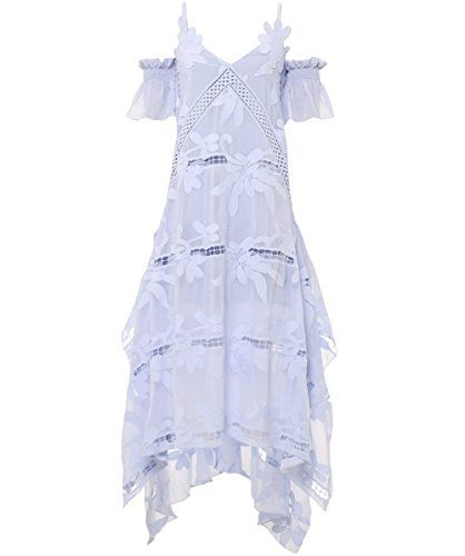 Self Portrait Floral Embroidered Midi Dress Sky Layered to create a full  feminine aesthetic, the