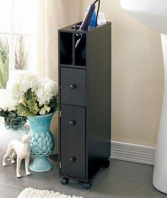 Bathroom Cabinet Storage Slim Rolling Cart Organizer Caddy Shelves Hair Dryer Furniture And