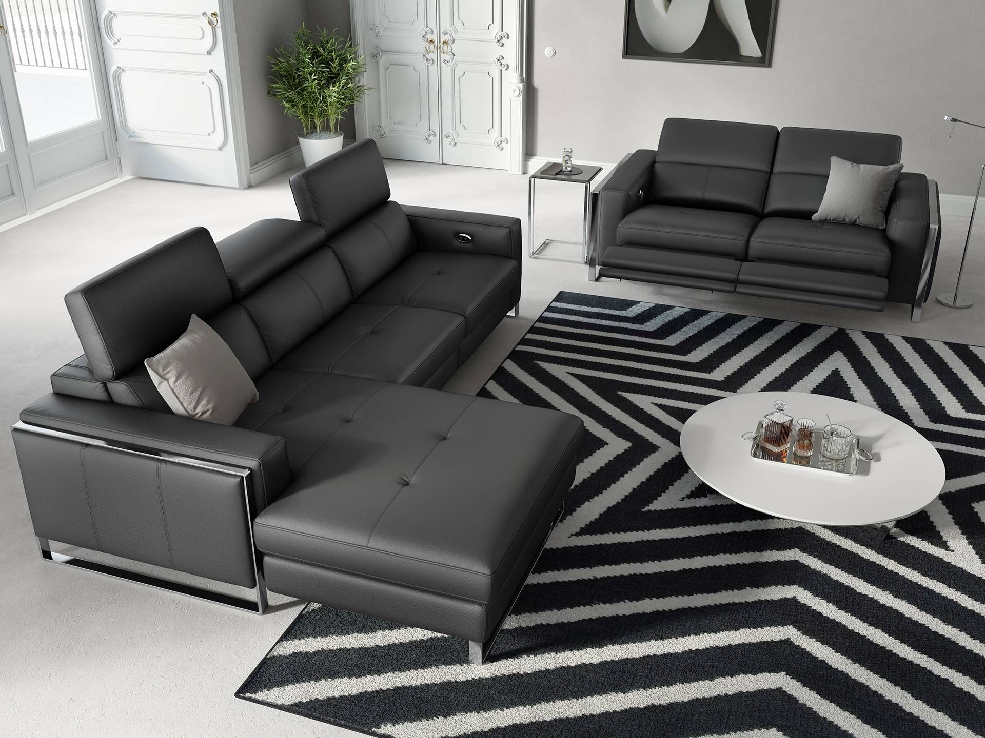 eckgarnitur sofa mit relaxfunktion in leder sofanella valiano living room wohn. Black Bedroom Furniture Sets. Home Design Ideas
