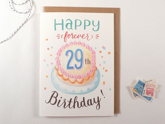 Forever 29 Birthday Greeting Card Funny Humorous By Fourwetfeet