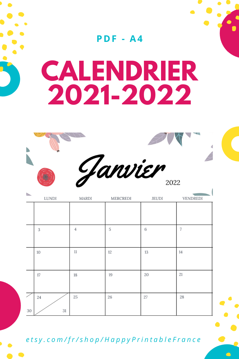 Calendrier mural 2021 2022   Calendrier mensuel 2021   Imprimable