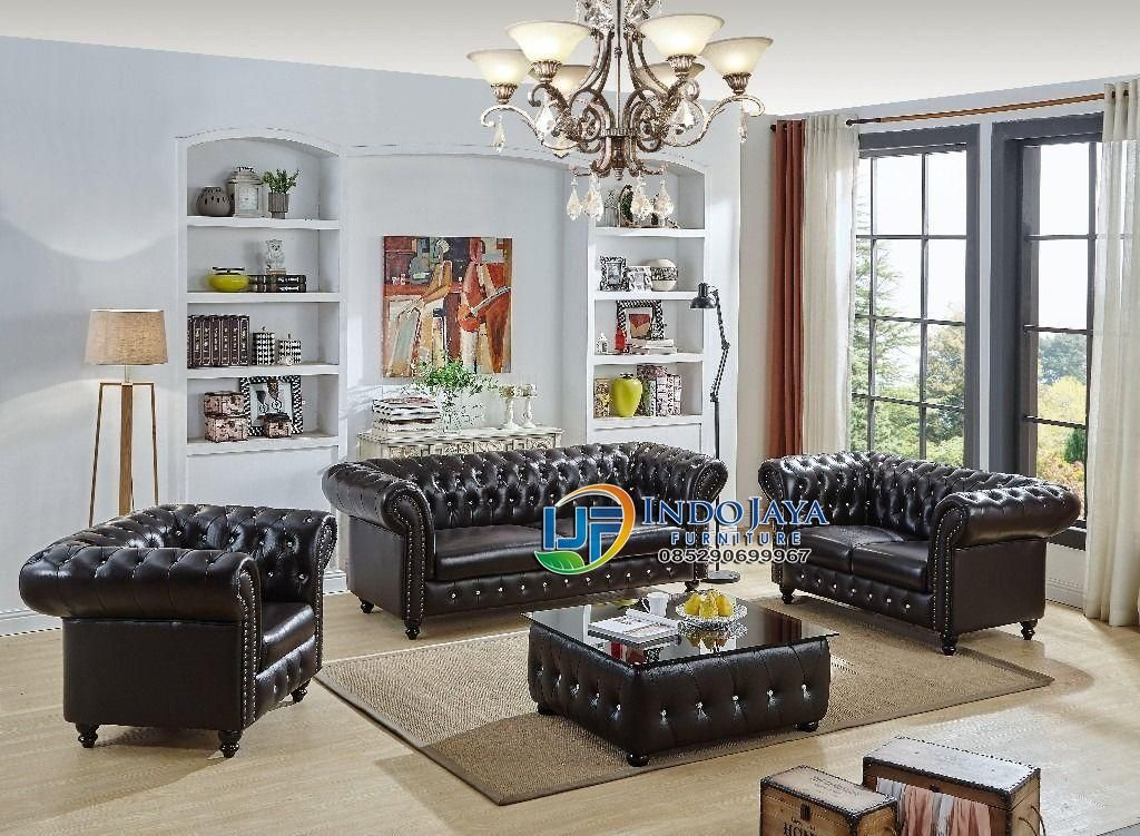 Set Sofa Ruang Tamu Minimalis Modern Kulit Terbaru Jepara Kursi Sudut Mewah