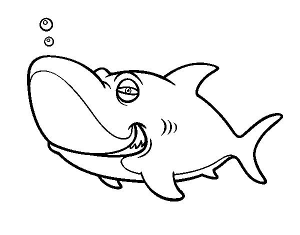 Dibujos De Caras De Tigres Para Colorear: Dibujo De Tiburón Tigre Para Colorear