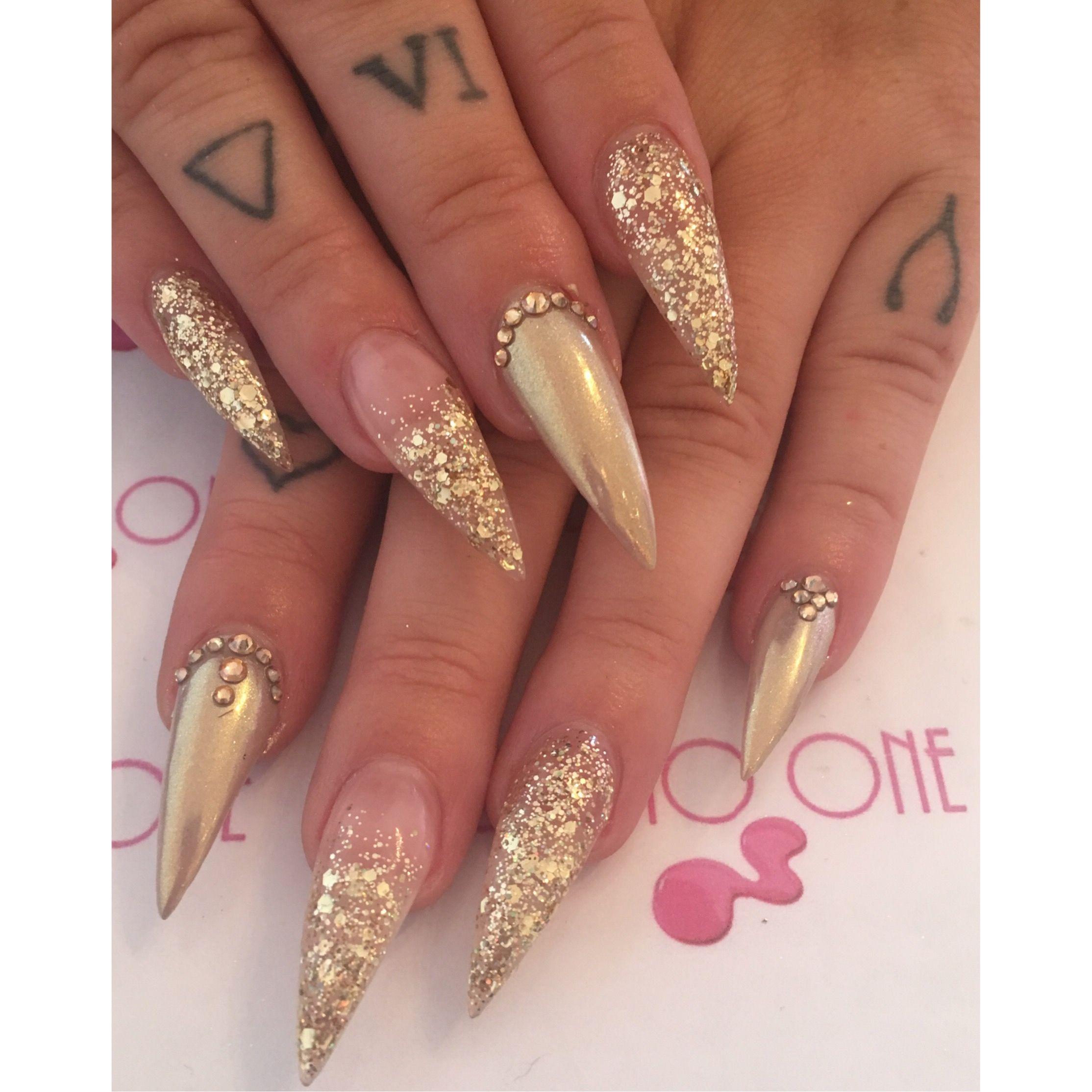 gold gems chrome chunky glitter stiletto nails tattoo glam