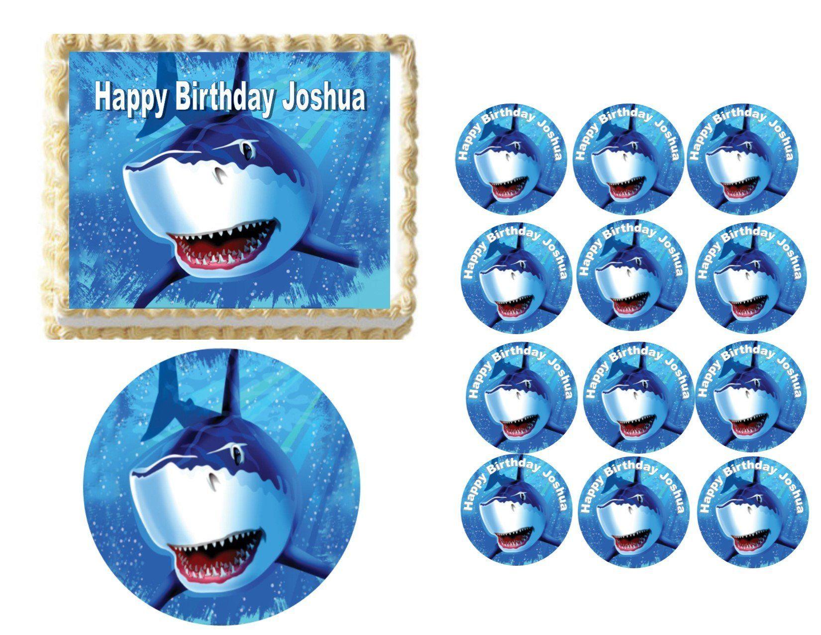 Edible great white shark cake cupcake cookies and oreo