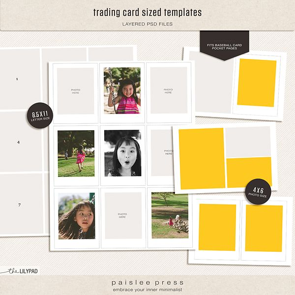 New In The Shop Trading Card Sized Templates Paislee Press Photo Album Scrapbooking Card Sizes Cards