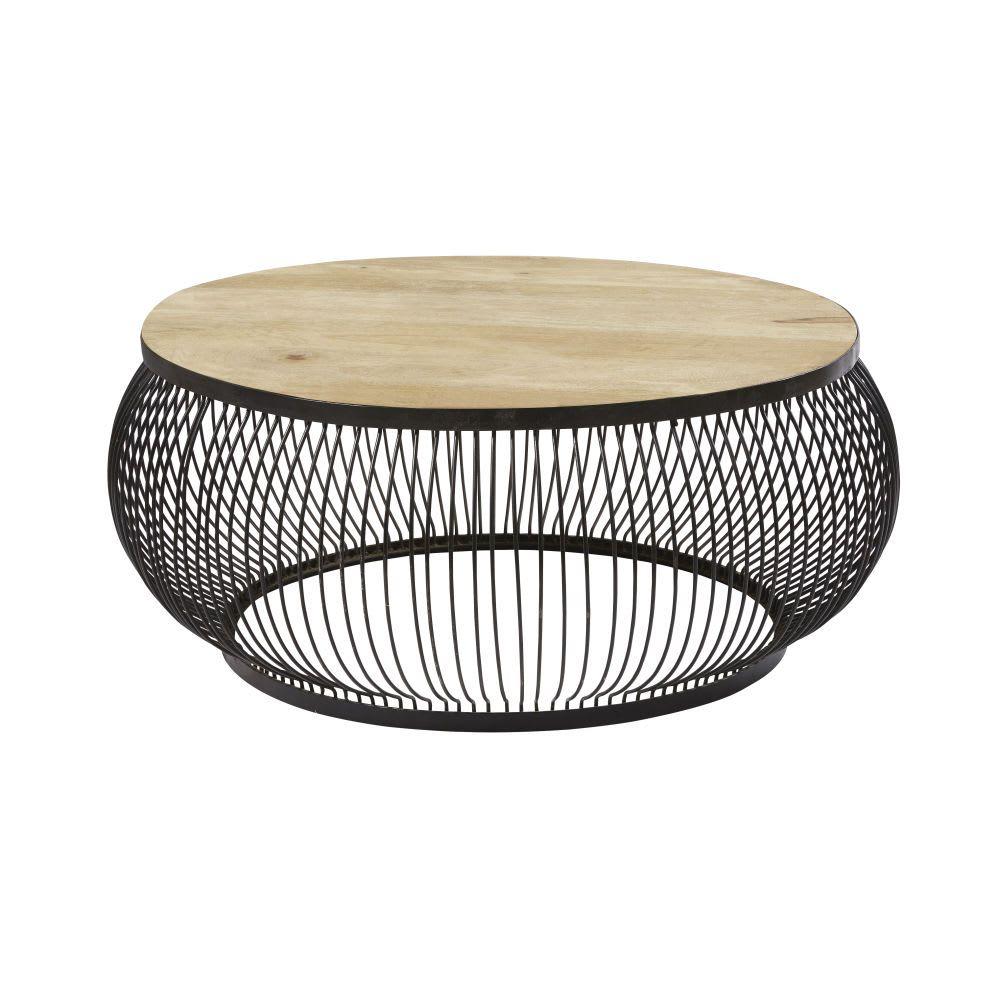 Round Black Metal And Solid Mango Wood Coffee Table Juana Maisons Du Monde Couchtisch Rund Wohnzimmertische Couchtisch Metall