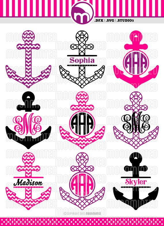 Nautical Anchor Svg Cut Files Monogram Frames For Vinyl