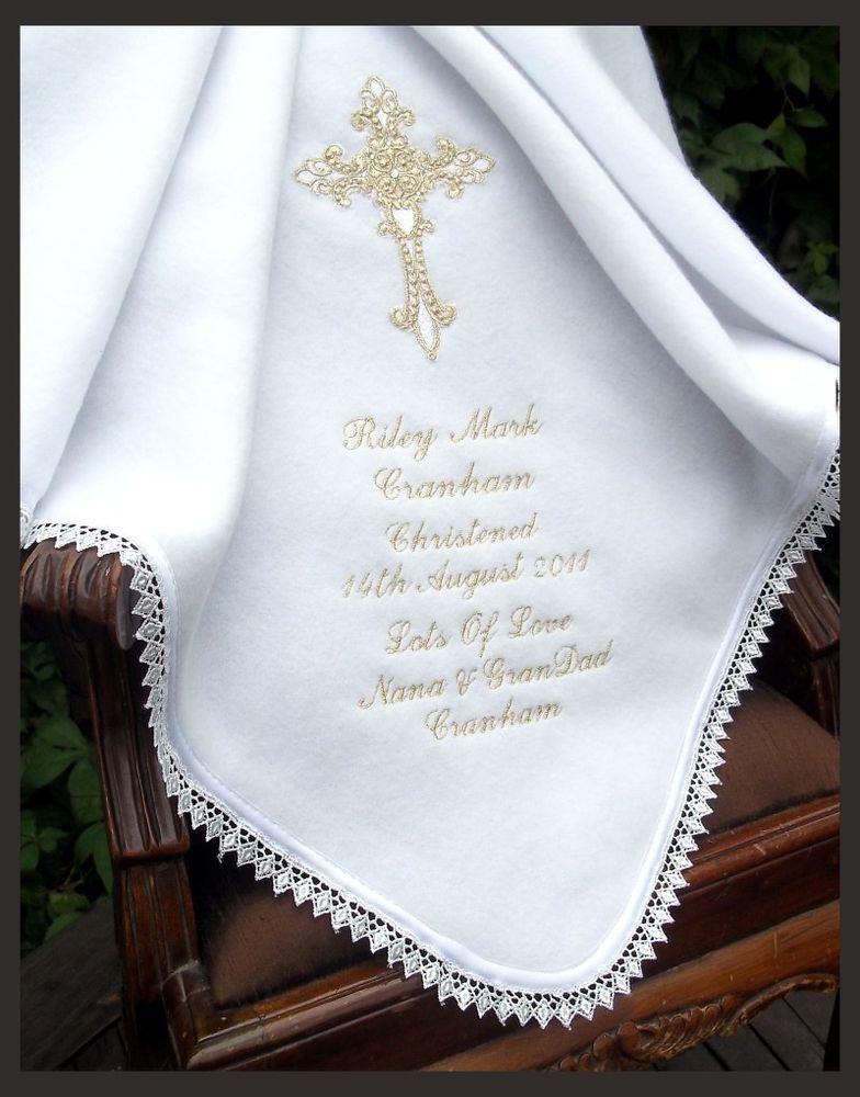 BAPTISM BAPTIZM Christening PERSONALISED embroidered white ...