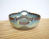 Sea Mist Stoneware Ceramic Serving Bowl - Two Handles. $40.00, via Etsy.