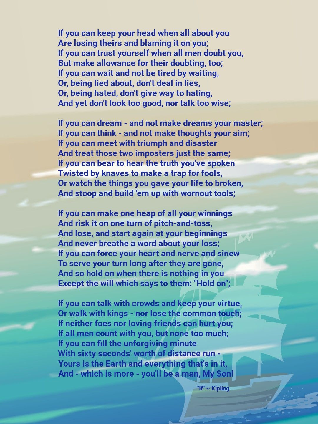 If Poem Rudyard Kipling If You Can Live Like This You Are A True