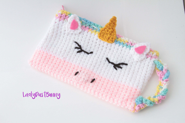 Crochet Unicorn Pattern, Unicorn pencil case pattern, crochet unicorn