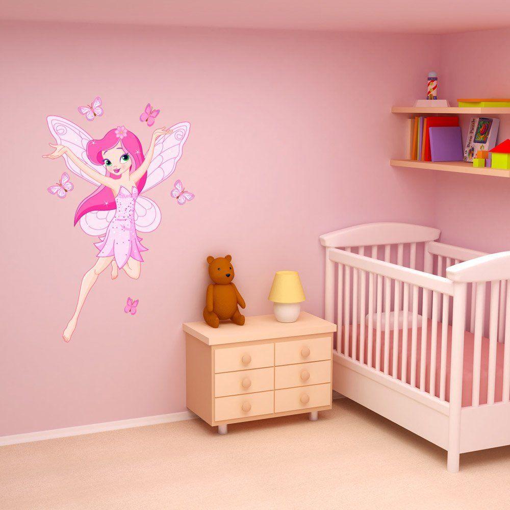 Bemerkenswert Mädchenzimmer Wandgestaltung Dekoration Von Süsses Wandtattoo Fee Mit Schmetterlingen - Macht