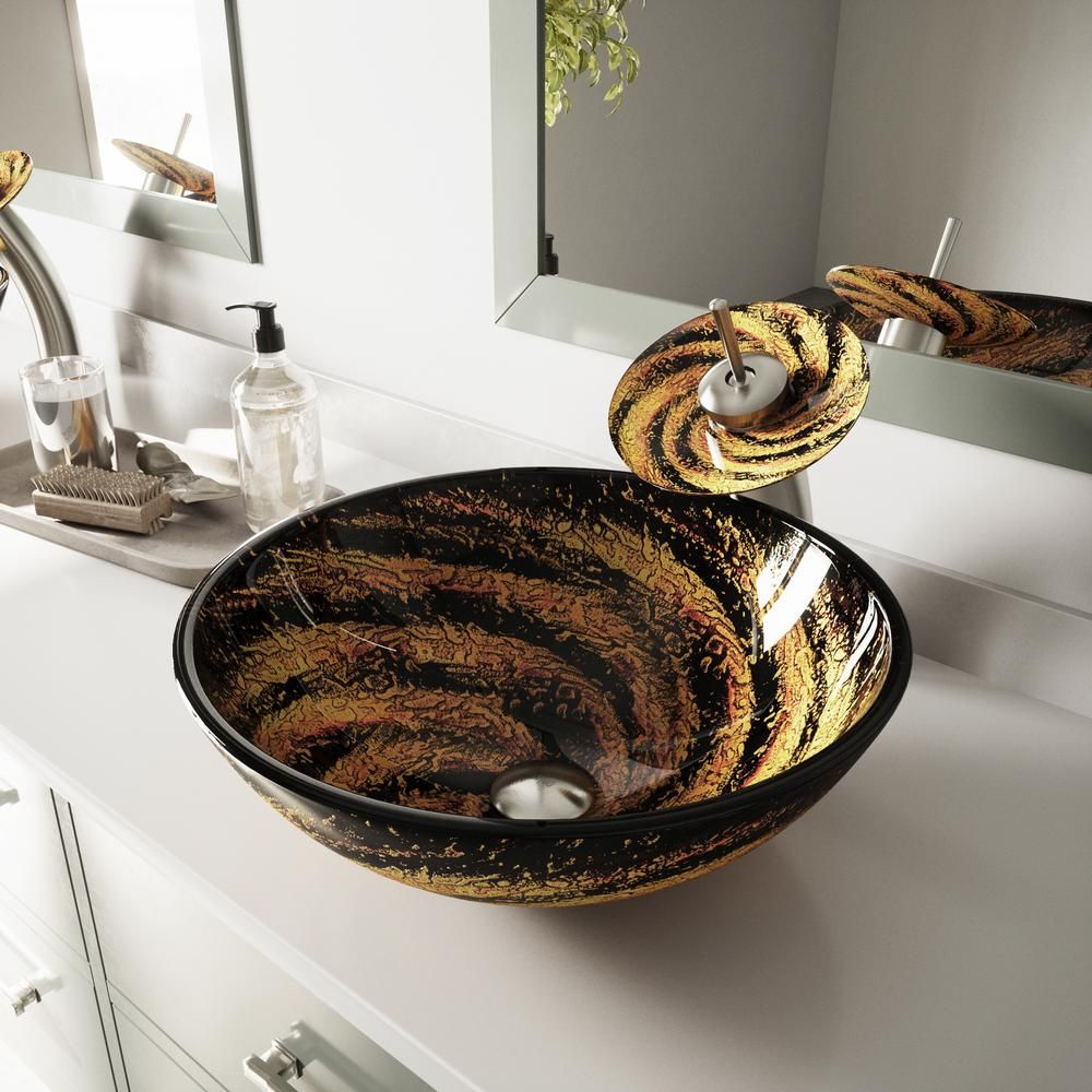 Vigo Glass Vessel Bathroom Sink In Black And Gold Northern Lights With Waterfall Faucet Set In Brushed Nickel Vgt031bnrnd The Home Depot Bathroom Sink Glass Vessel Sinks Sink Vessel sink and faucet sets