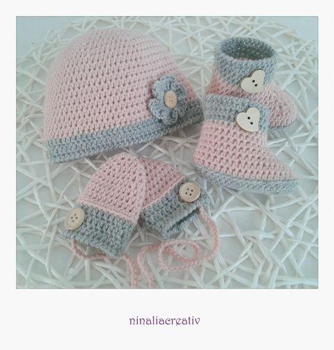 Babyset für Neugeborene - Schühchen, Mütze und Handschuhe ...