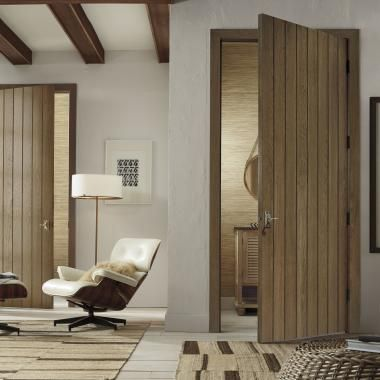 Trustile Plank doors (VG1000) in hickory with wide V-groove profile and Cappuccino & Trustile Plank doors (VG1000) in hickory with wide V-groove profile ...