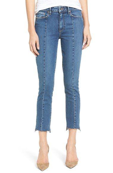 PAIGE Jacqueline Seamed Step Hem Straight Leg Jeans (Felice). #paige #cloth #