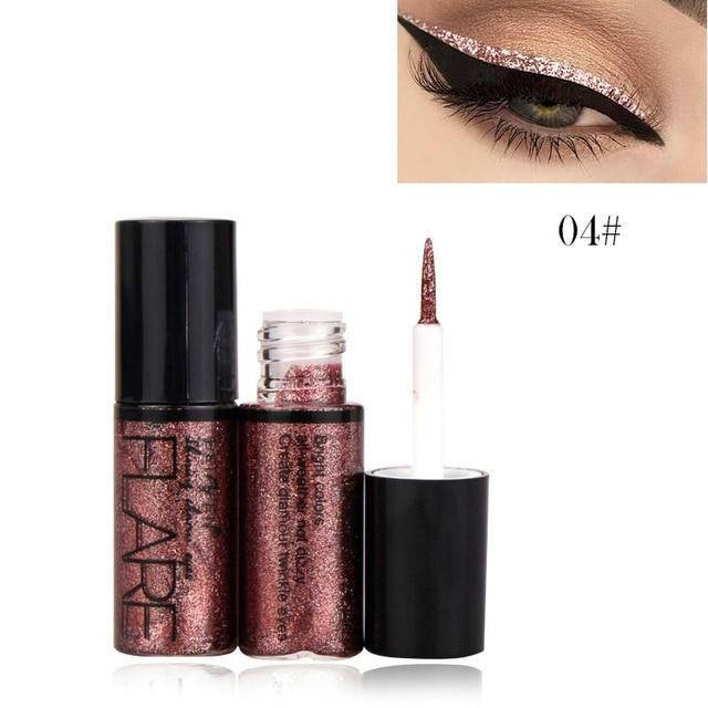 Professional New Shiny Eye Liners Cosmetics for Women Pigment Silver Rose Gold Color Liquid Glitter Eyeliner Cheap Makeup #glittereyeliner