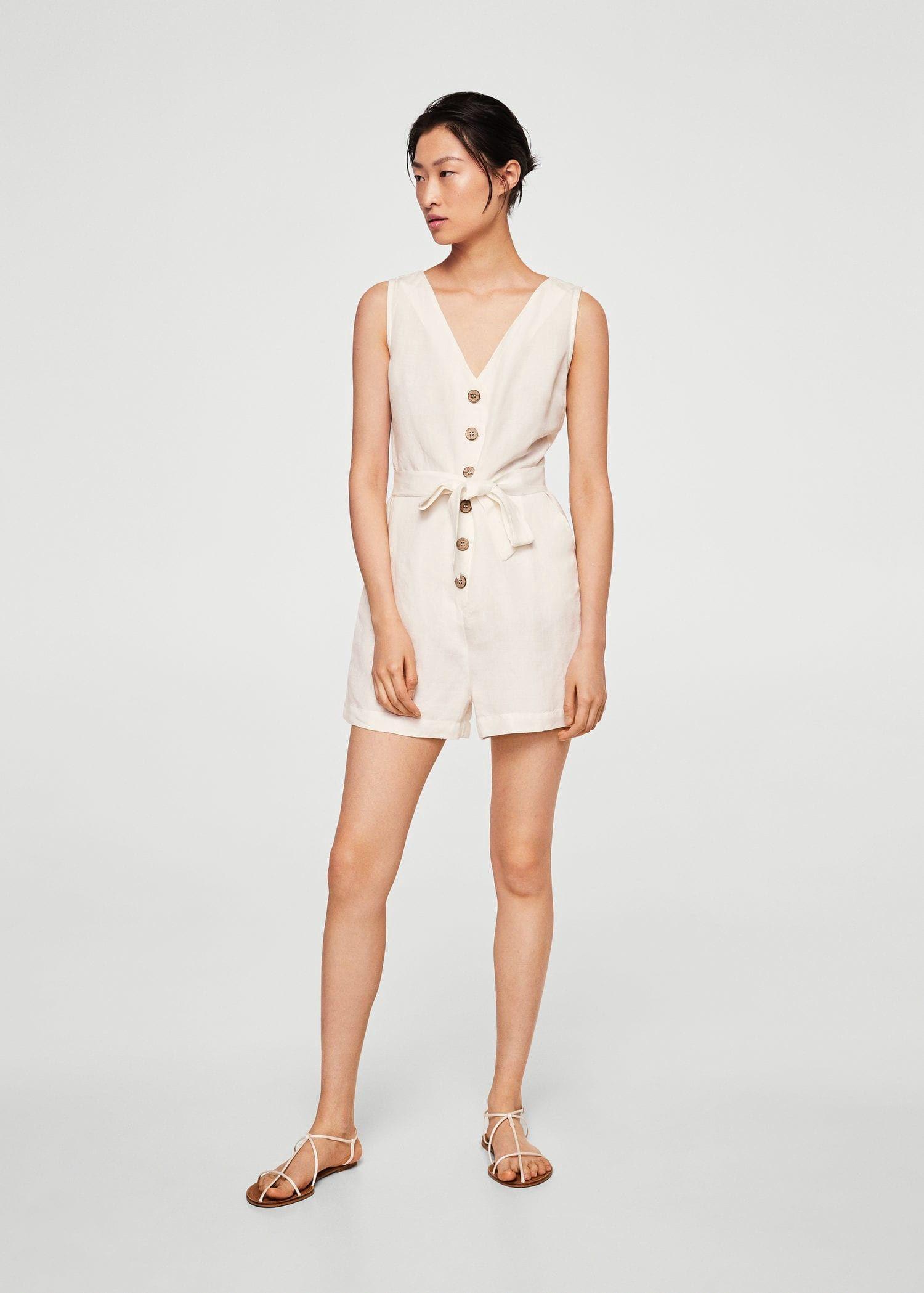 772ce27201a8 Mango Bow Linen Jumpsuit - Women