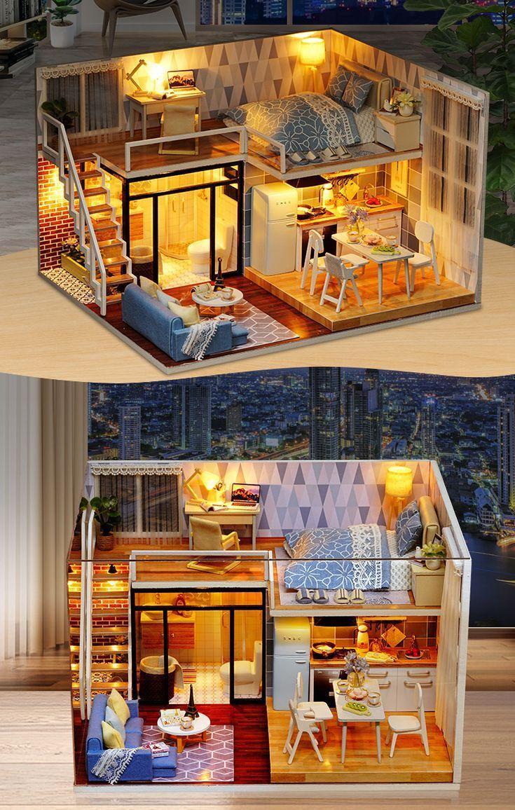 DIY Modell Puppenhaus Puppenhaus Möbel LED Licht 3D Holz Geschenk Spielzeug - Ezbuy ... #dollhouses
