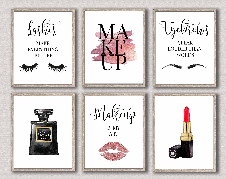 Makeup Wall Artmakeup Decoreyelash Decorfashion Wall Etsy Salon Wall Art Makeup Wall Art Wall Art Quotes